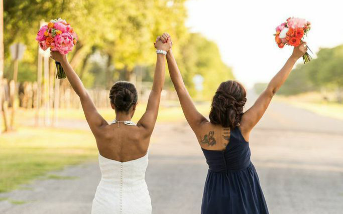 bride and friend celebrating