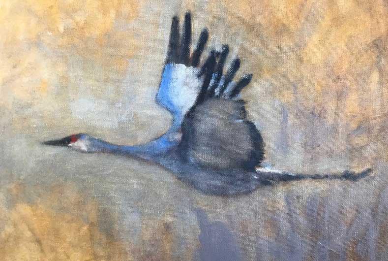 Painting of crane