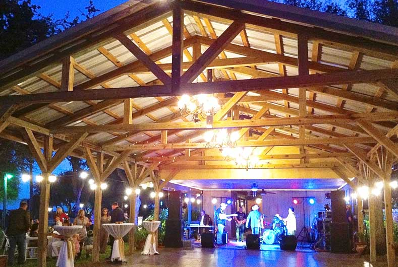covered patio with dance floor