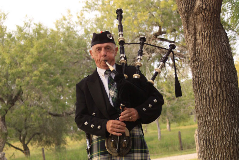 gentleman playing the bagpipes