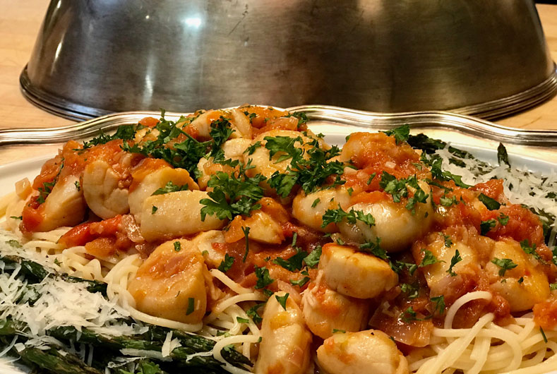 plate of delicious scallops