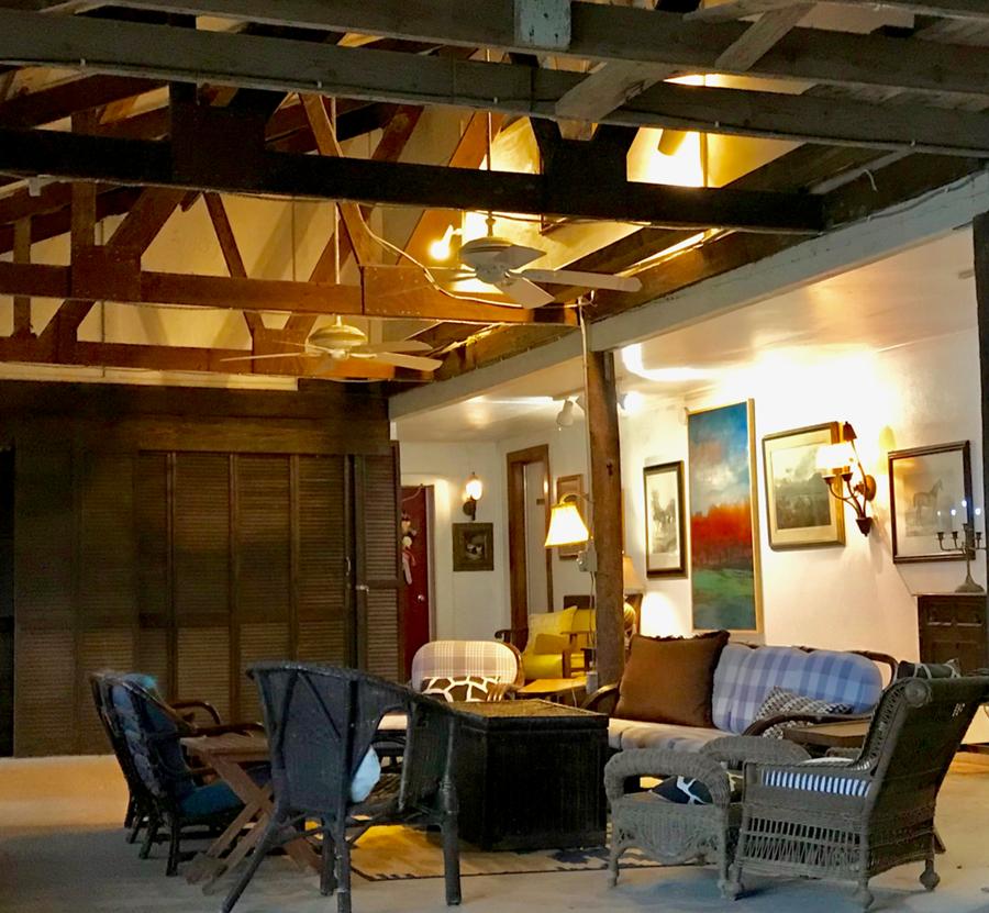 Sitting area inside a barn
